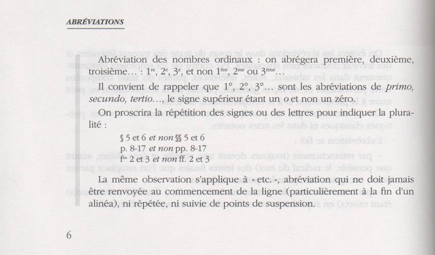 les abréviations de premier deuxième et autres dans le lexique