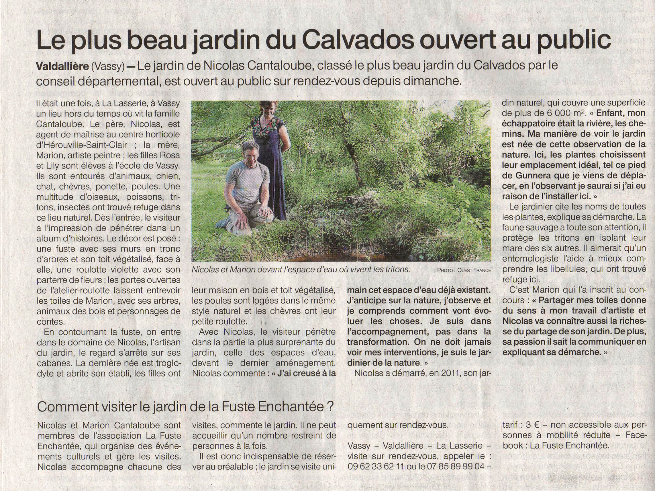 Article de presse Ouest-France, parution 14 juillet 2020